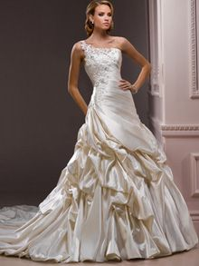 A-Line Ball Gown Princess Sweetheart One Shoulder Dropped Non-Strapless Tank Satin Tulle Wedding Dress