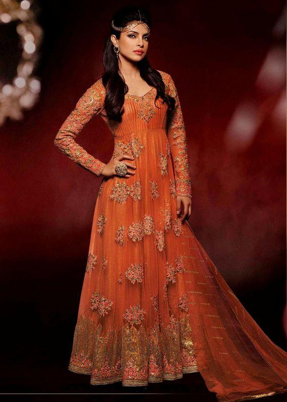 Buy Online Priyanka chopra Orange Wedding Designer Anarkali Suit