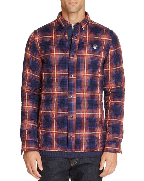 Scotch & Soda Quilted Plaid Shirt Jacket