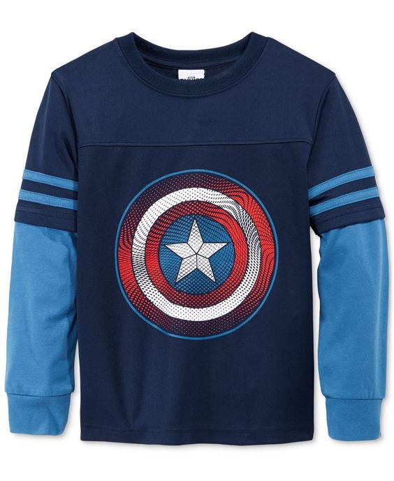 Marvel Little Boys' Captain America Graphic-Print Long-Sleeve T-Shirt - Visit to grab an amazing super hero shirt now on sale!