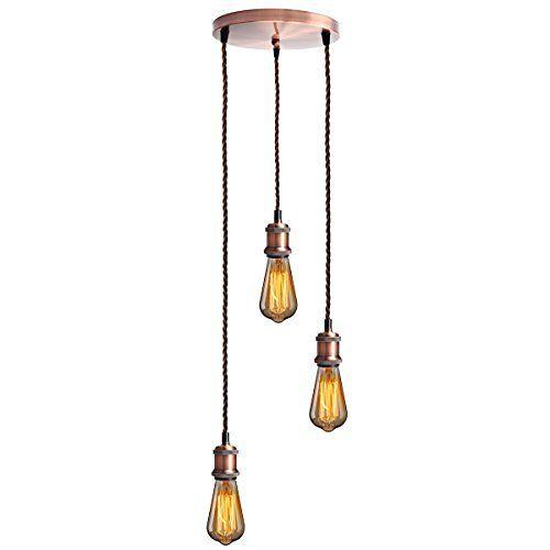 KINGSO E27 Lampenfassung mit drei Fassungen Edison Pendelleuchte Hängelampe Halter DIY Lampe Zubehör im Vintage-Stil mit braunemTextilkabel & Baldachin mit Zertifikat Rot Bronze, http://www.amazon.de/dp/B01FZ0O2TY/ref=cm_sw_r_pi_awdl_x_ImbYxbV4Z6YGW