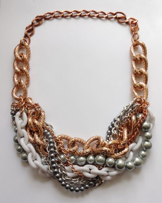 Rose gold statement necklace chunky necklace statement for Jewelry just for fun