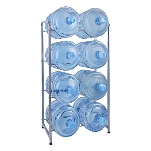 Ationgle 5 Gallon Water Cooler Jug Rack For 8 Bottles 4 Tier Detachable Water Bottle Holder Heavy Duty Stainless Steel Water Jug Organizer With Floor Protectio Water Bottle Storage Rack Water Jug
