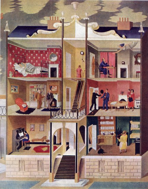 'Life in a Boarding House' by Eric Ravilious was a mural at Morley College, alas destroyed in the war.