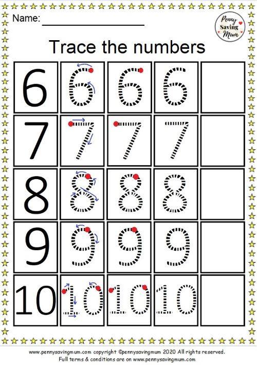 Trace The Numbers Worksheet 6 10 Penny Saving Mum Tracing Worksheets Writing Numbers Kindergarten Preschool Number Tracing Kindergarten worksheets numbers 10