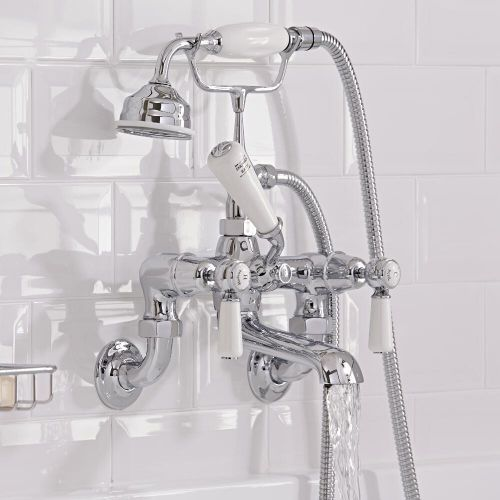 Milano Elizabeth Traditional Wall Mounted Lever Bath Shower Mixer Tap Chrome And White Bath Shower Mixer Bath Shower Mixer Taps Shower Mixer Taps