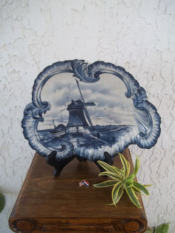 Unique Delft Charger 1800's Old Delfts Blauw Schotel Large Wall Plaque Plate → Cook American Co Trenton, New Jersey *Free S&H (Guam USA)