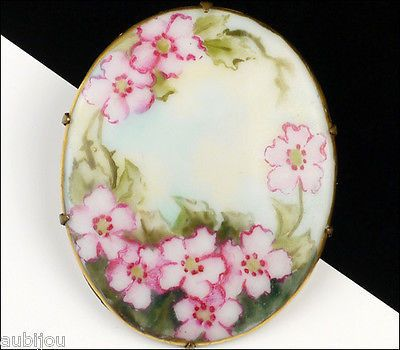 Vintage Porcelain Handpainted Floral Pink Wild Rose Flower Foliage Brooch Pin