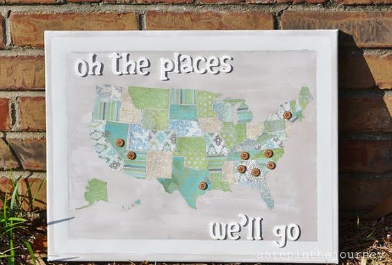 Oh the Places You'll Go  Travel Map by astepinthejourney on Etsy, $35.00