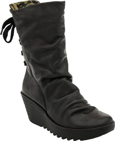 Fly London Yada Wedge Boot (Black Mousse)