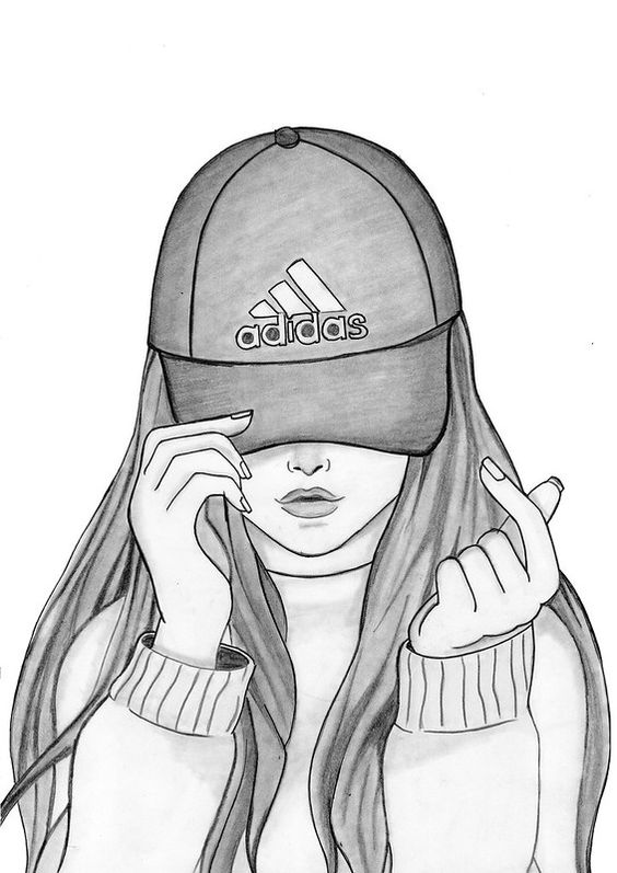 How To Draw A Girl With Cap Girl Drawing Sketches Girly Drawings Easy Drawings Sketches