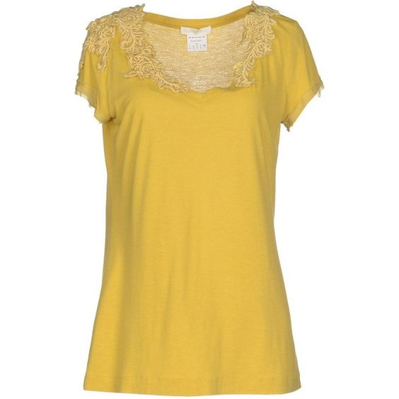 Scervino Street T-shirt (£64) ❤ liked on Polyvore featuring tops, t-shirts, yellow, short sleeve t shirts, embroidered t shirts, jersey t shirts, yellow tee and v neck tee