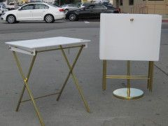 A Set of 4 Lucite + Brass Folding Tables by Charles Hollis Jones USA 1970s  #Lucite tables #Charles Hollis Jones