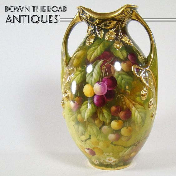 Large Royal Bonn Hand Painted Vase with Cherries and Blown-out Berries - 1900's