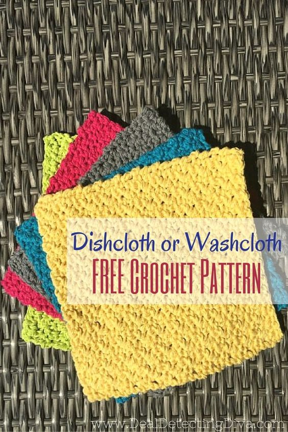 Knitted Dishcloth Patterns States : Dishcloth, 30 minutes or less and Free crochet on Pinterest