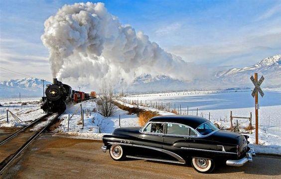 1953 Buick Super and Union Pacific 2-8-0 #618 steam train.