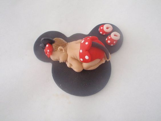 Fondant Edible Baby Minnie mouse Cake Topper Baby Shower ...