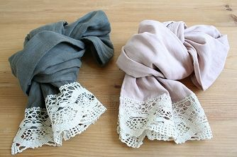 attach lace to the ends of a scarf - beautiful
