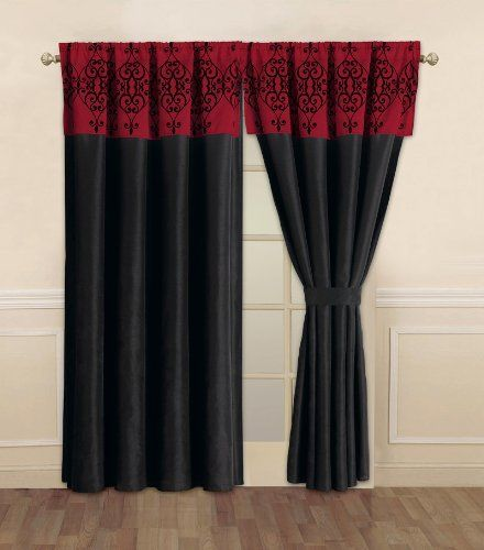 Catherine Black and Red Curtain Set by KingLinen. $29.99. This is ...