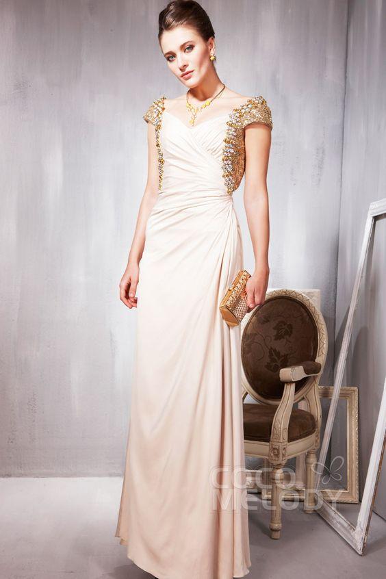 Sheath-Column Sweetheart Chiffon Pink Evening Dress #cocomelody