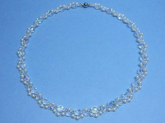 Bijoux, Collier ras de cou mariage Perle et Cristal est une création orginale de akcrystalbead sur DaWanda