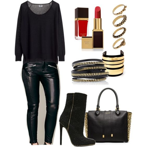 """preto e dourado"" by denise-hellwig on Polyvore"