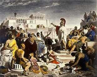 het werd bedacht door de oude grieken, ook de woorden démos (volk) kratein (regeren) zijn bedacht door de oude grieken net als de vormen: monarchie, aristocratie, en de constitutionele monarchie of tirannie en oligarchie.