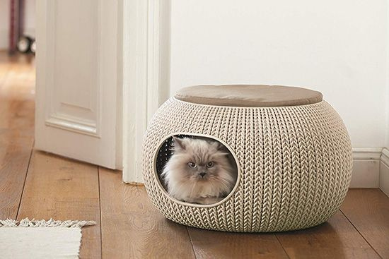 Weatherproof Knit Cat Hideaway Lounge With Images Cat Bed Pet Beds Pet Furniture