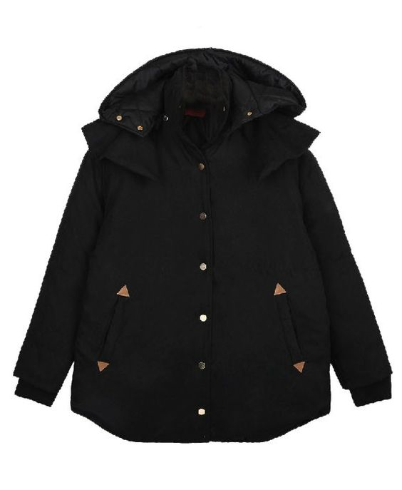 Detachable Hooded One Row Button Coat