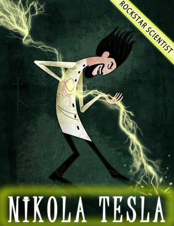 Nikola Tesla by Pete Oswald. Cloudy With A Chance of Meatballs!