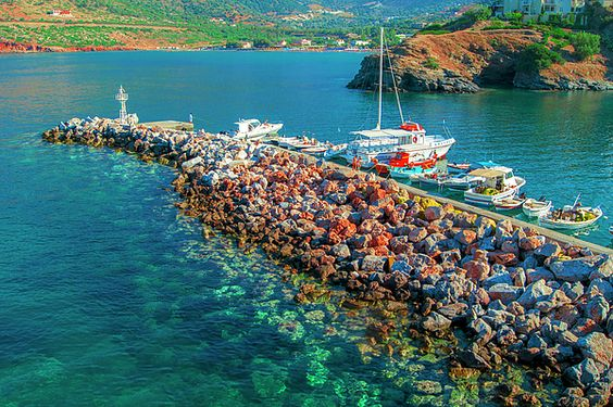 Pier of the fishing village Bali on the Greek island of Crete