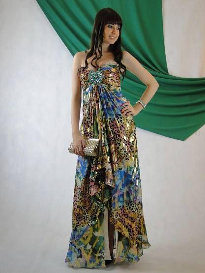 Vestido de festa estampado Jovani tamanho 38. Visite www.blacksuitdress.com.br
