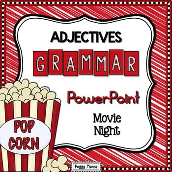 Adjectives PowerPoint This Adjectives PowerPoint is an engaging tool to introduce/teach your students about those wonderful adjectives!  This pack is part of my Adjectives Kit {Bundle} which includes a which includes a ton of printables. If you purchase the bundle, you save 30%!Adjective Grammar Kit CCSS.ELA-LITERACY.L.1.1, L.1.1.B, L.2.2, L.2.2.A, L.3.1.dIncluded Resources> 50 slides that: Teach, Practice, and Review> Links to On-Line Adjective GamesTEACHER-FRIENDLY FEATURES> It ha...