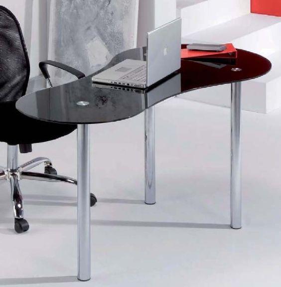 Modelo sat mesa de estudio con tapa de cristal curvo - Patas metalicas para mesas ...