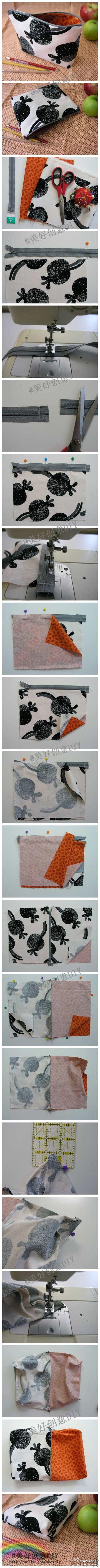 Zip bag tutorial: Zipper Pouch Tutorial, Diy And Crafts, Zipper Bags, Pencil Cases, Cosmetic Bag, Bag Tutorials, Sewing Bags