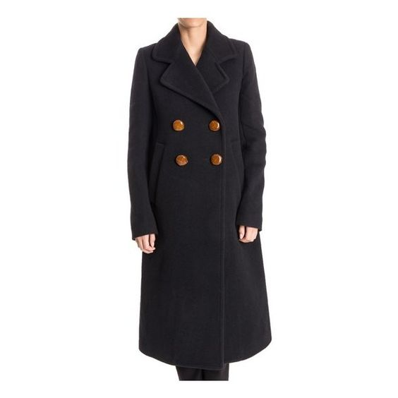 Chloé Wool Blend Coat ($852) ❤ liked on Polyvore featuring outerwear, coats, blue, chloe coat, wool blend maxi coat, fur-lined coats, wool blend coat and maxi coat