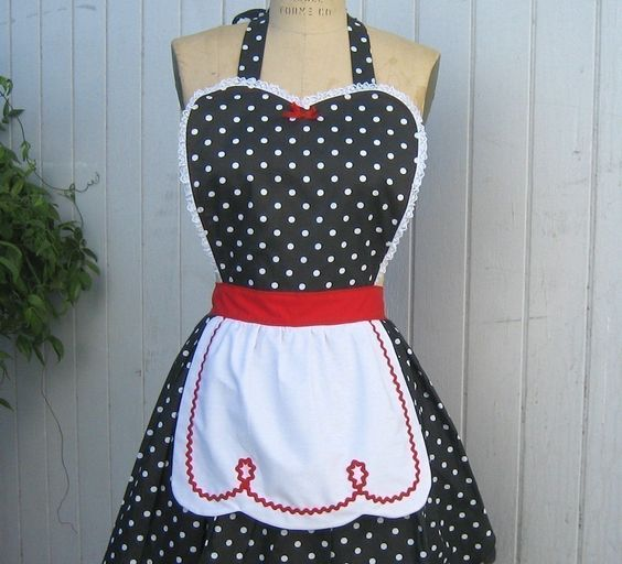 LUCY ... RETRO 50s apron red black polka dot apron fifties sexy hostess bridal shower gift and is vintage inspired womens full apron. $28.50, via Etsy.