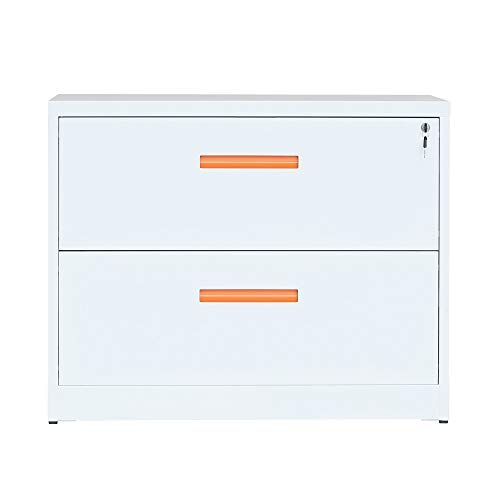 Lonma Metal Lateral File Cabinet With Lock Orange White 35 4w 28 4h 17 7d 2 Drawers Filing Cabinet Lateral File Cabinet Cabinet