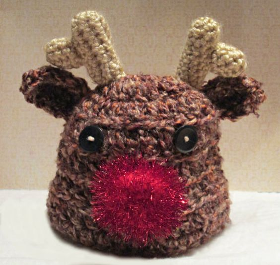 Newborn Crochet Reindeer Hat by fun2make on Etsy, $14.95