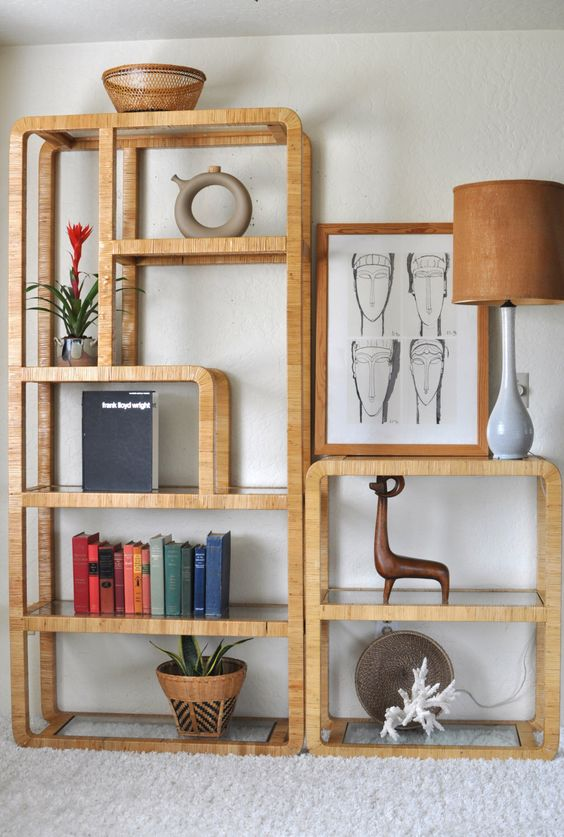 Sold Vintage 70 39 S Rattan Etagere Room Divider Wall Shelf