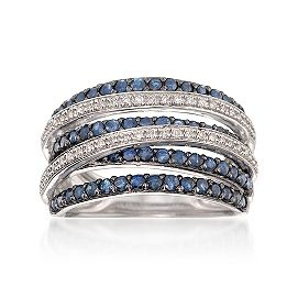 Ross-Simons ~  1.00 ct. t.w. Sapphire and .15 ct. t.w. Diamond Highway Ring in Sterling Silver