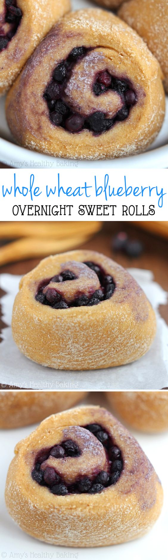 Overnight Whole Wheat Blueberry Rolls -- an easy, clean-eating recipe for a sweet & healthy breakfast!