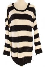 Black White Striped Long Sleeve Pullovers Sweater $30.88