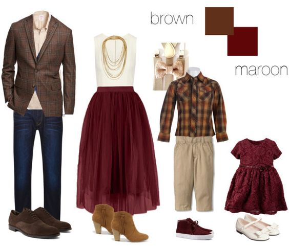 Shopable family picture session style, by Kate L Photography   #brown #maroon