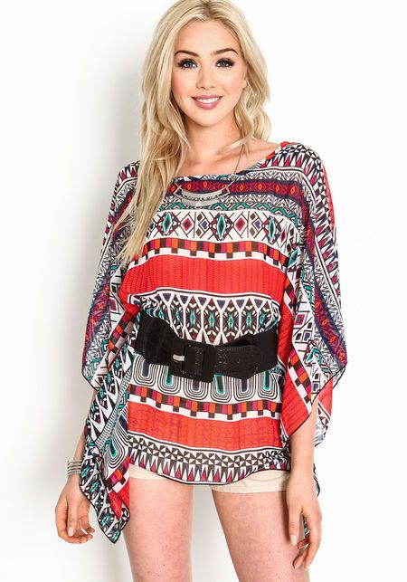 Stand out in this bold poncho top! Sheer chiffon top in a colorful tribal print and loose, breezy fit.   http://foxyblu.com/details/87020