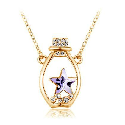 Bottle+Pendant+with+Austrian+Crystal+Five-pointed+Star+Diamond+Inlaid+Necklace