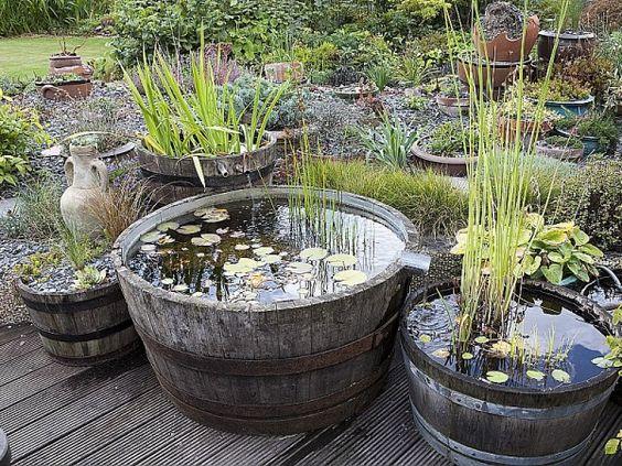 Créer un mini bassin dans un tonneau coupé en deux.