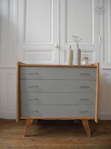 Commode vintage pieds compas annees 50 ameublement gironde - Repeindre une commode ...