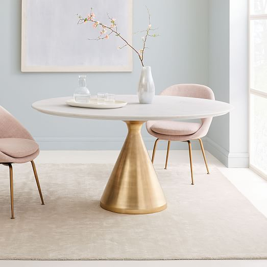Silhouette Pedestal Round Dining Table White Marble Brushed
