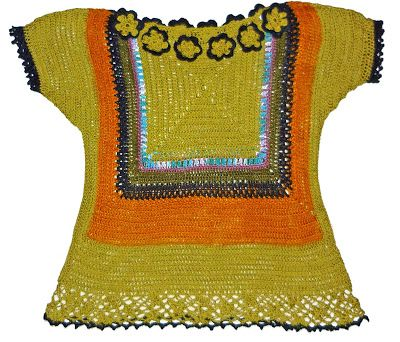 Blusa de la serie Oaxaca, tejida a crochet en hilo Cisne Pescadora e Hilos Textil Amazonas: verde oliva, amarillo y negro, Talla M